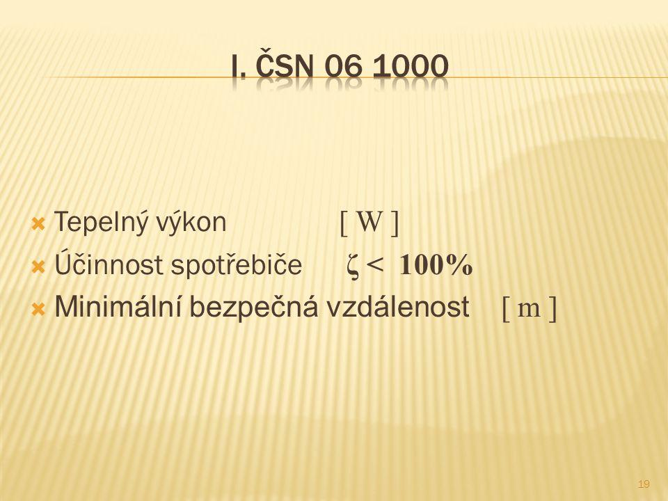 I. ČSN 06 1000 Tepelný výkon [ W ] Účinnost spotřebiče ζ < 100%